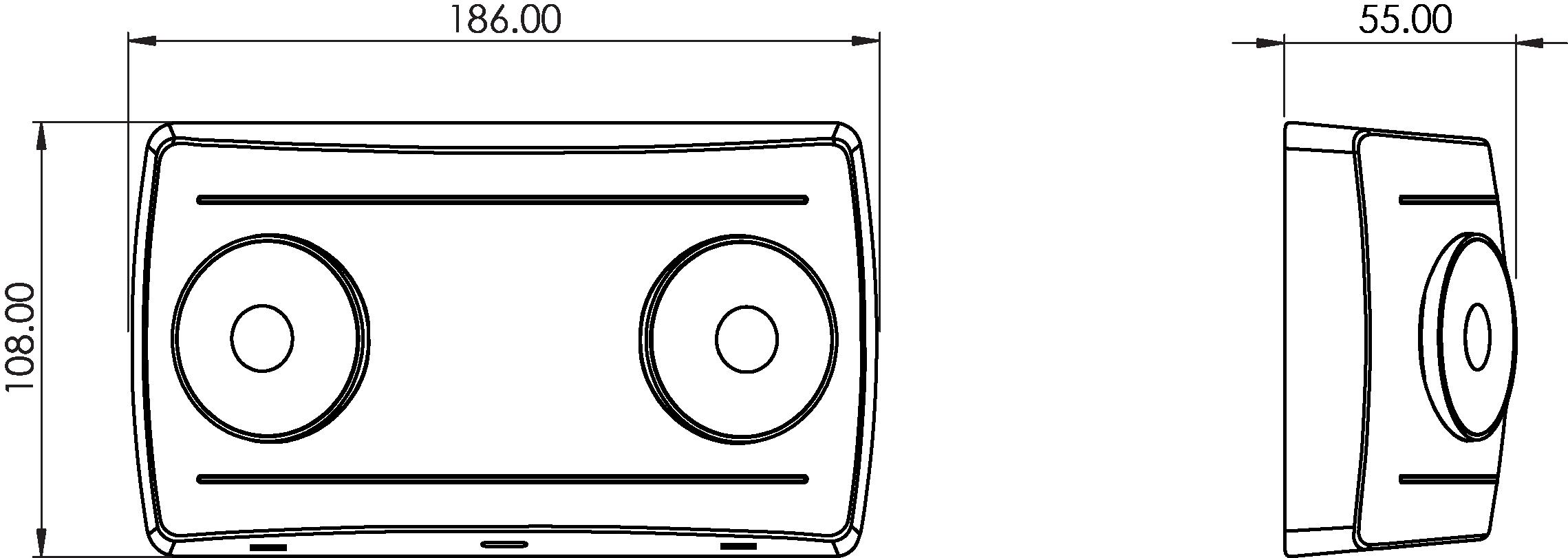 ELITE SPOT Emergency twin spot line drawing