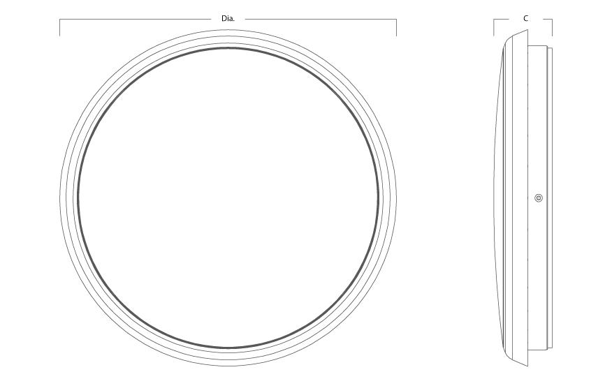 MERIDIAN circular LED bulkhead line drawing