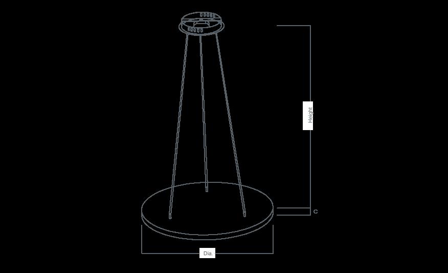 OLYMPIAN Circular suspended pendant line drawing