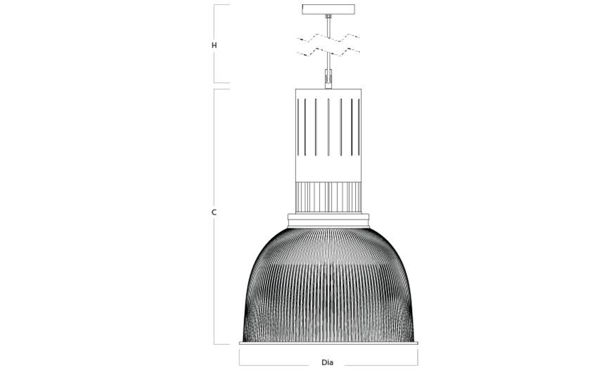 SAPPHIRE Prismatic Pendant line drawing